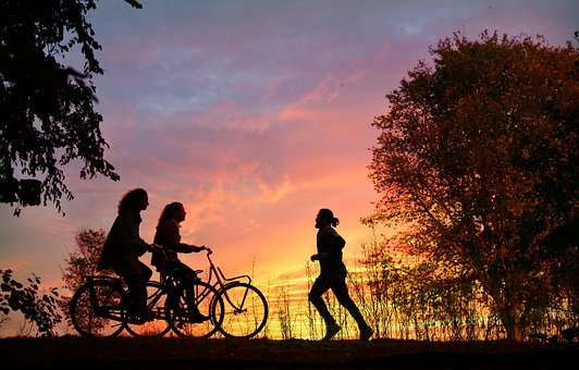 Cyclist, Runner, People, Exercise