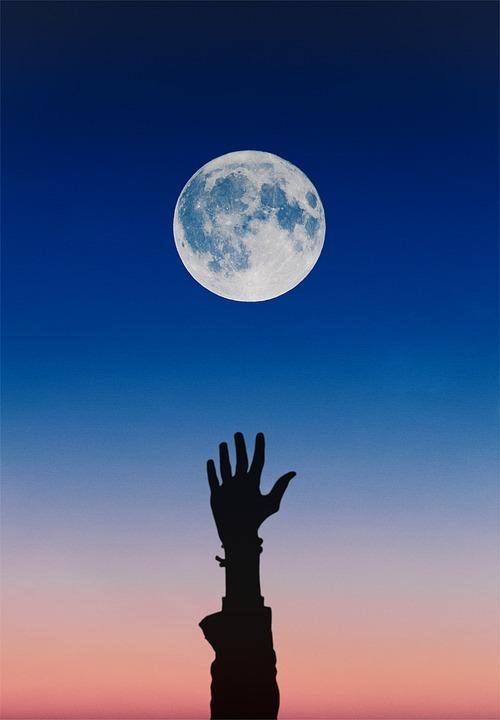 Moon, Sky, Blue, Hand, Arm, Night, Phone Wallpaper