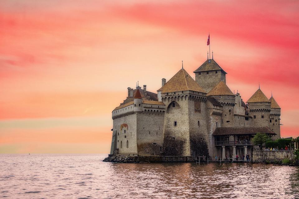 Burg, Schloss, Wasser, Schweiz
