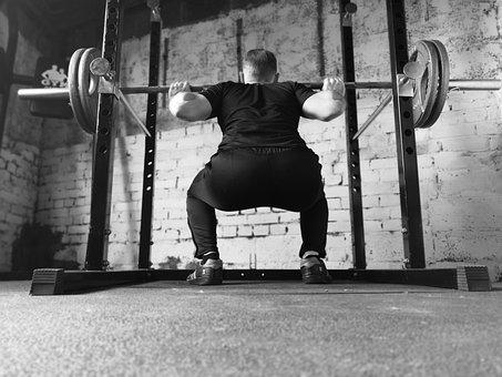 バーベル, ジム, スクワットラック, 男, 強度, 重量, 重量の訓練