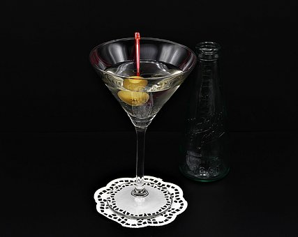 Martini, Olive, Glass, Bottle, Alcohol