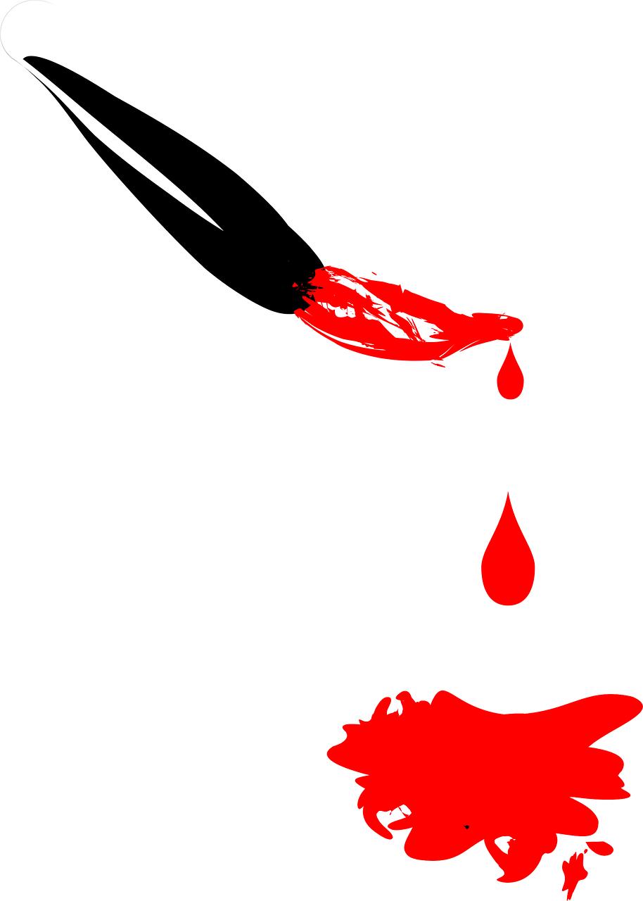 картинка кисточка с красной краской хочется
