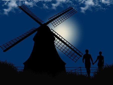 Romantic, Night, Couple, Mill
