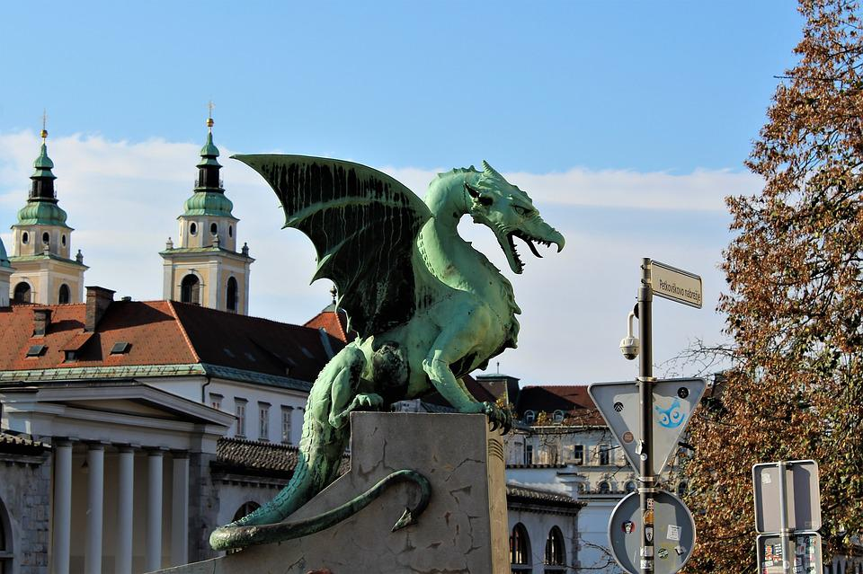 Dragon, Statue, Ljubljana, Autumn, Europe, Slovenia