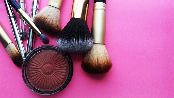 化粧, 化粧品, 美しさ, ブラシ, 顔を赤らめる, ピンク, スタイル