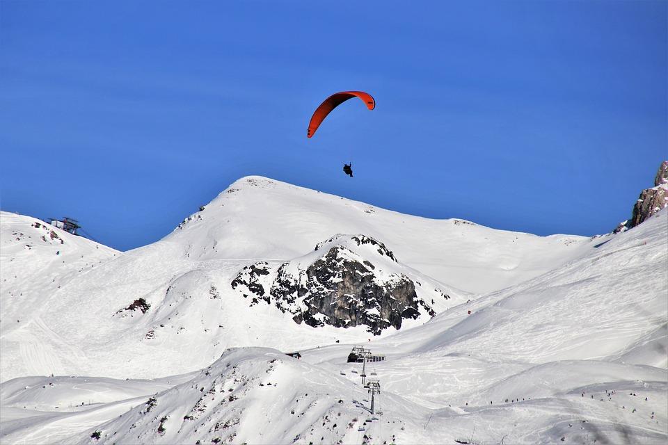 パラシュート, パラグライディング, 雪, 山脈, パラグライダー, ビール, リラクゼーション, 風景