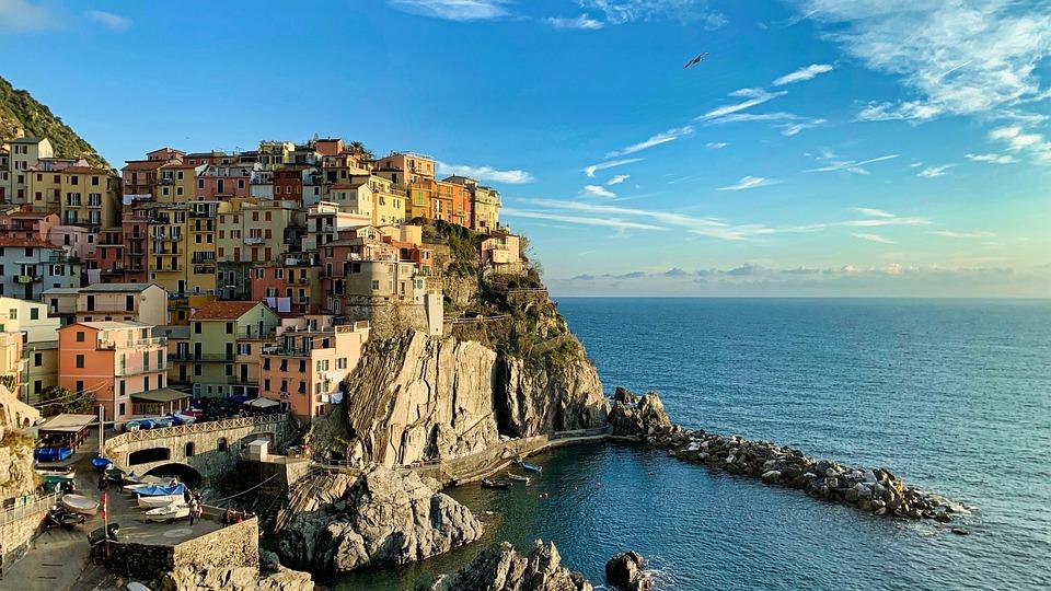 Cinque Terre, Manarola, Italia, Liguria, Mare, Montagna