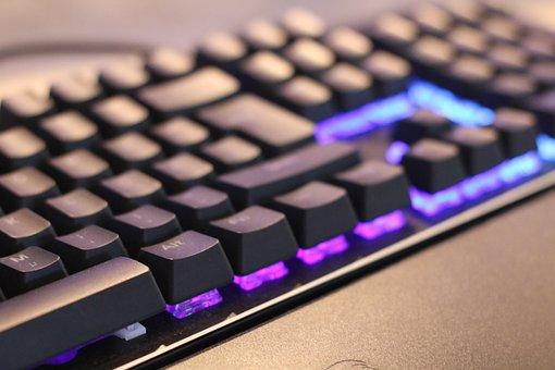 キーボード, Led, 賭博, 点灯, キー, コンピューターのキーボード