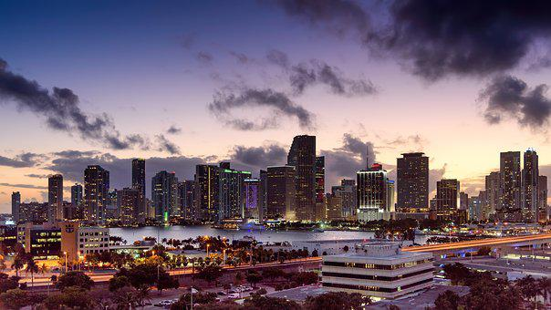 Miami, Florida, Sunset, Skyline