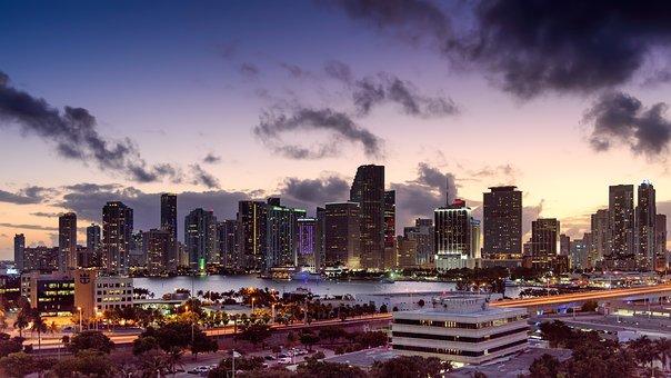 Miami, Florida, Sunset, Skyline