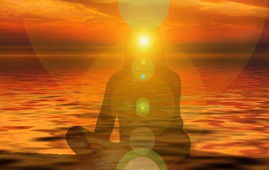 女性, シルエット, サンセット, ビュー, 方向, 自己, 瞑想