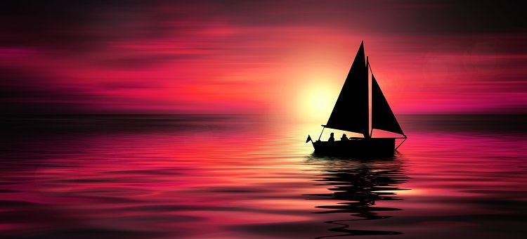 Sunset, Sea, Sailing Boat, Boat, Water