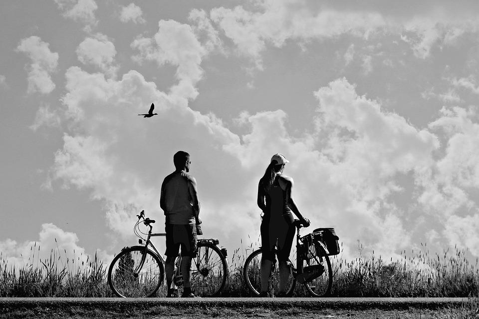 Man, Woman, Bicycle Ride, Couple, People, Pair, Two