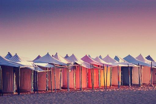 Portugal, Sun, Beach, Tent, Sea, Sunset