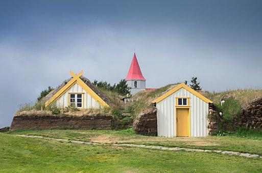 アイスランド、家、教会、写、自然、田園分、草、タワー、