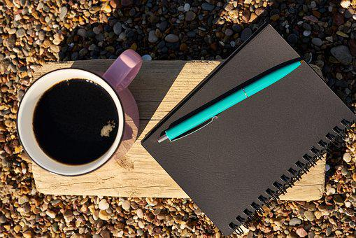 Coffee, Pen, Notebook, Book, Black, Pink