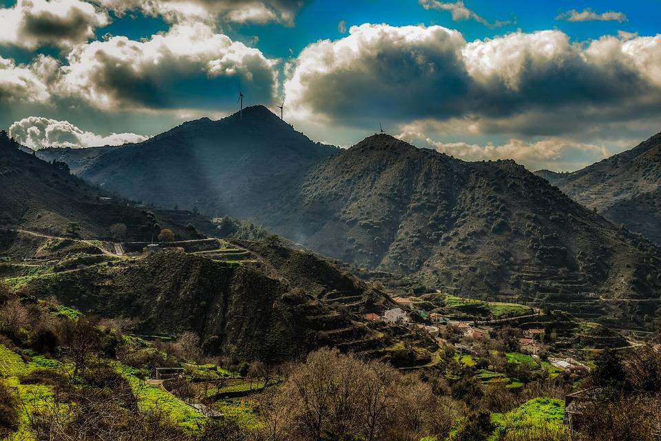 山, 風景, 自然, 空, 雲, 村, 風光明媚な, 朝, 田舎, Kampi, トロードス, キプロス