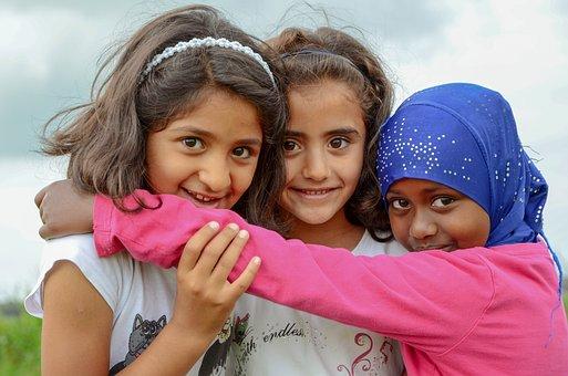 人々, 難民, 子供, 女の子, 肖像画, 子, 若い, 愛, 友人同士