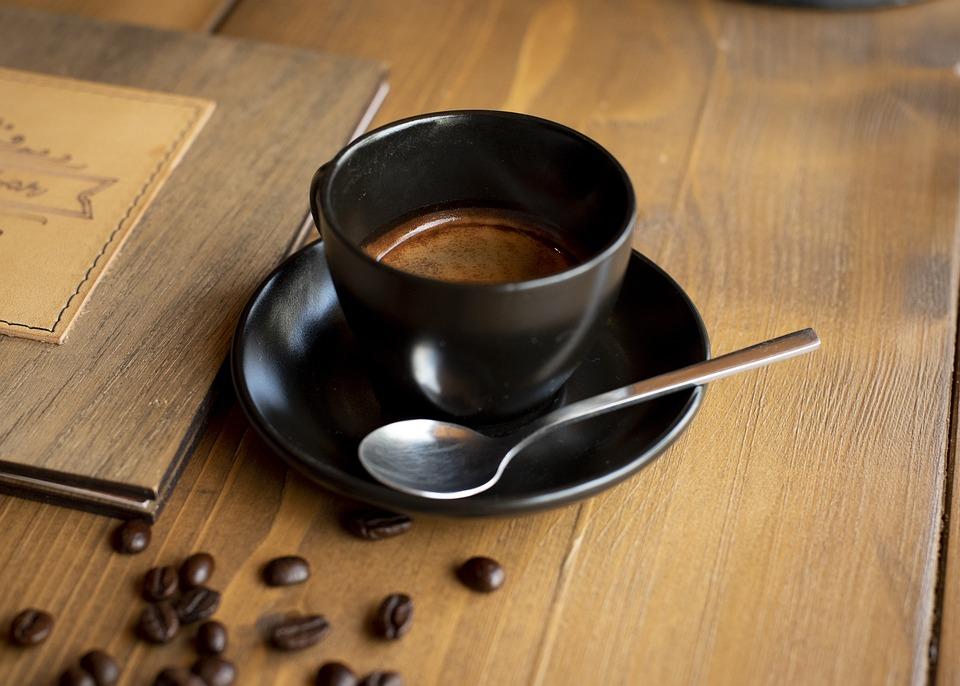 Coffee, Espresso, Kawiarnia, Brown, Black, Spoon