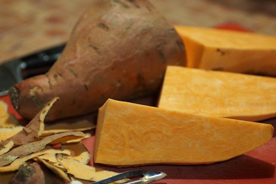 Süßkartoffeln, Batáta, Peeling, Schalen, Gemüse, Bio