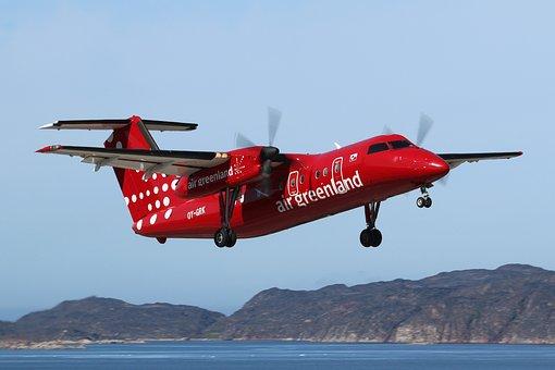 グリーンランド, Aasiaat空港, ダッシュ8, 飛行機, Take Off