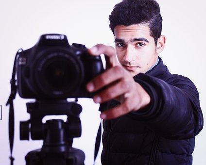 Retrato, Câmera, Fotógrafo, Menino