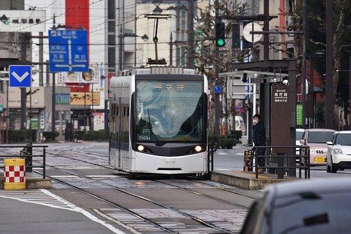 交通, 道, 鉄道, 電車, 路面電車, 乗り物, 都市, 街, 日本, 北陸