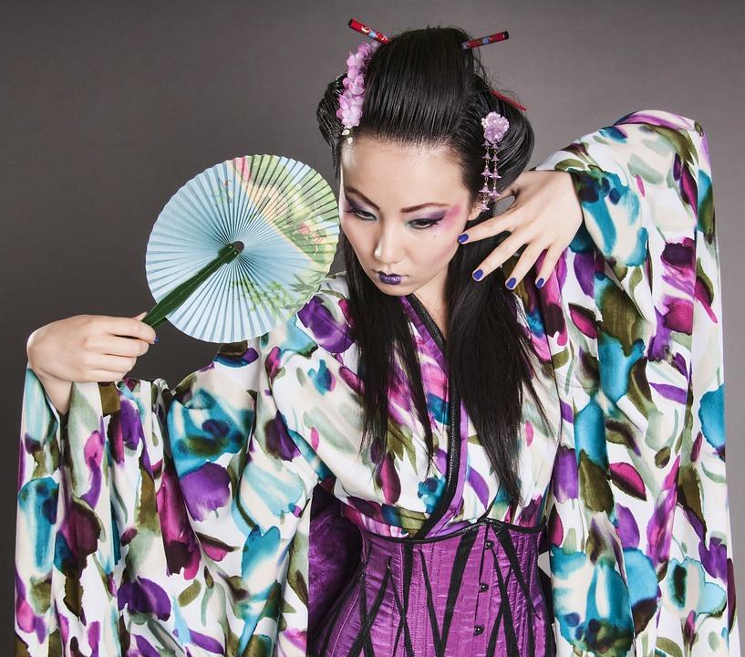 女性, モデル, アジア, 着物, 日本, 韓国語, 伝統的な, ドレス