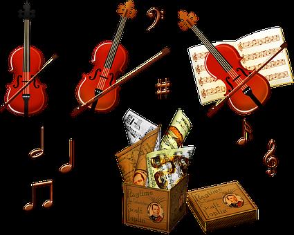 Geige, Musik-Blätter, Instrument