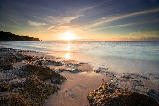 日没, 背景, 空, 美しい, ビーチ, 夏, 地平線, 春, 色, 太陽, 朝