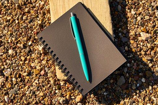 ノートブック, ペン, ブラック, 書きます, 読む, 著者, 詩人, メモ