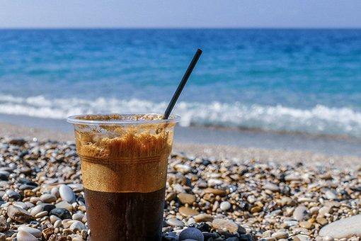 コーヒー, ビーチ, アルバニア, 海, 水, 夏, リラックス, カフェ