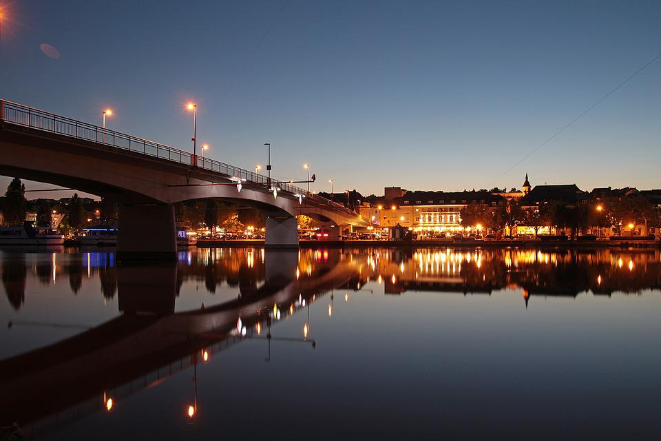 Remich, Luxembourg, Summer Night, Night Photograph