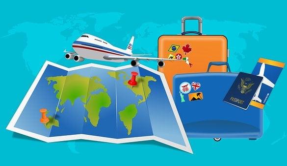 地図, フライト, 休暇, 荷物, ビザ, パスポート, 飛行機, 旅行, 交通
