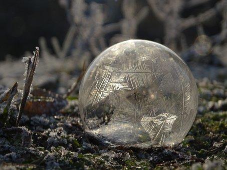 Bublina, Zima, Mráz, Zmrazené, Bublifuk