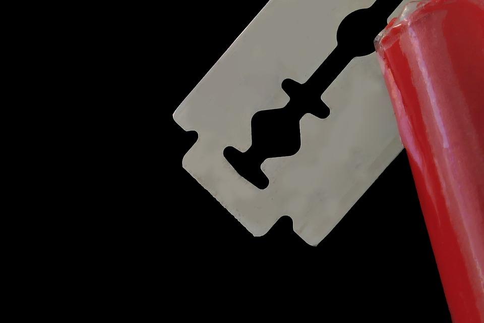 かみそりの刃, シャープ, ひげをそる, 鋼, ナイフ, ブレード, カット, シェービング, 赤, 金属