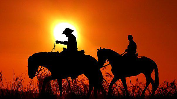 Sunset, Riders, Silhouette, Nature
