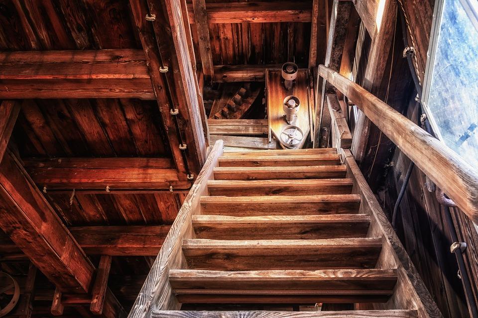 階段, 急, 木製の階段, ワークショップ, 徐々に, 上昇, 高, 古い, 出現, Pforphoto