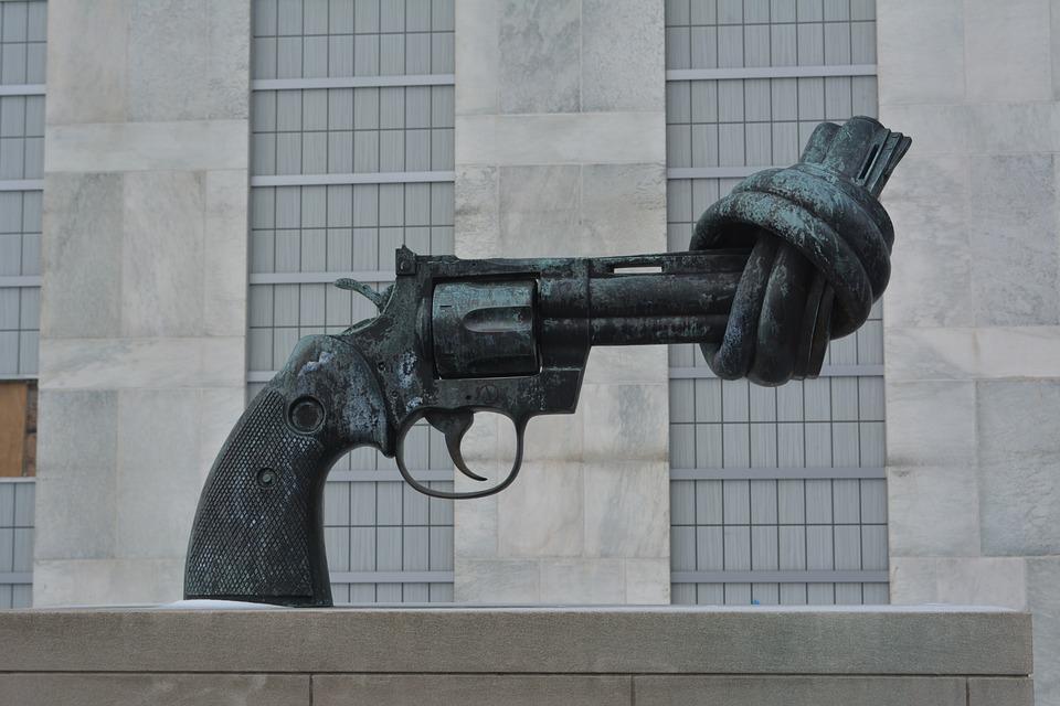Waffe, Vereinten Nationen, Gewalt, Nyc, Skulptur