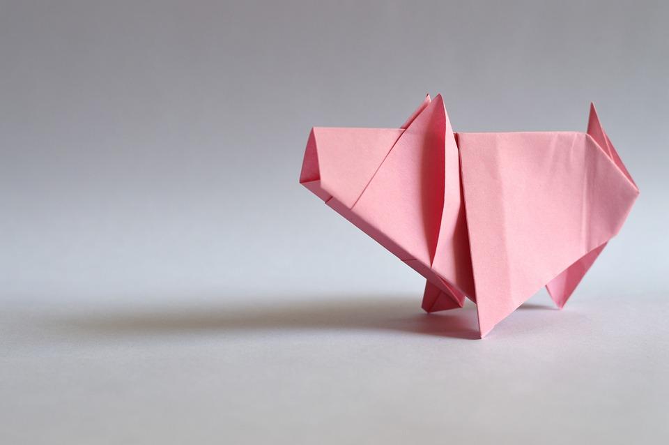 紙、豚肉、シンボル、ローザ、子豚、折り紙