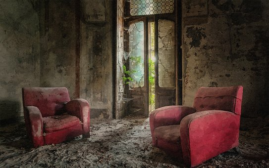 Chair, Red, Old, Dusty, Room, Urbex
