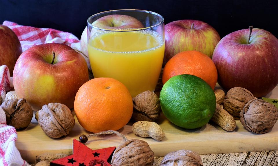 Frutta, Apple, Tangerini, Noci, Succo D'Arancia, Fresco