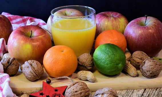 フルーツ, アップル, みかん, ナット, オレンジ ジュース, 新鮮な, 健康