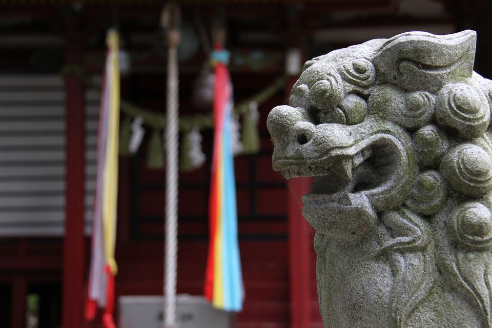 神社, 狛犬, 日本, 石像, 彫刻, こまいぬ, 神輿, 鳥居, 歴史, しめ縄, ライオン, 像, 獅子
