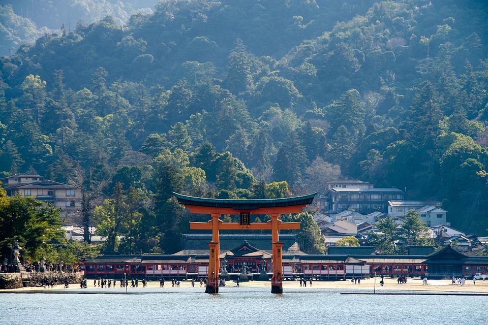 O-鳥居, 厳島神社, 神社, 宮島, 鳥居, 日本, ランドマーク, 有名な, 文化, 観光