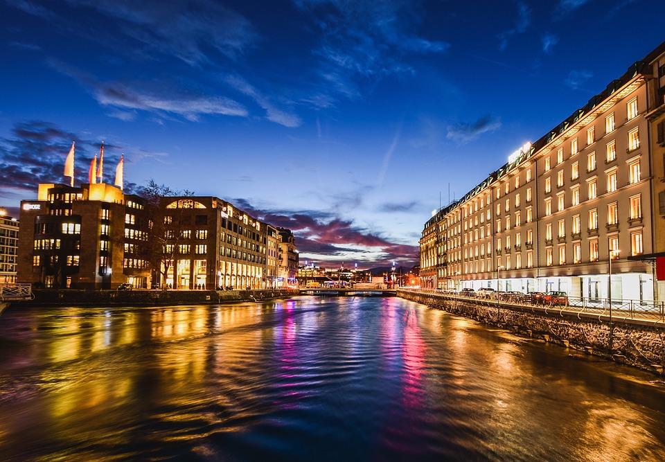 City, Floden, Byggnader, Twilight, Reflektion, Lampor
