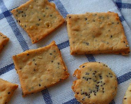 せんべい, クッキー, クラッカー, 朝, 食欲をそそる, 味, 朝食, 食べる