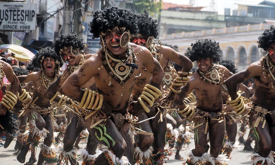 祭り, ローカル, 祝賀, 族, 通り, ダンス, 伝統的な, 文化, イベント, アジア, イロイロ, 市