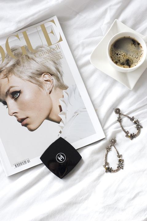 Vogue, Magazin, Mode, Schöne, Schönheit, Kaffee, Morgen