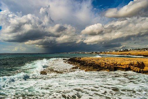 海, 景观, 海岸, 洛基, 自然, 天空, 云, 引人注目, 阴, 地平线